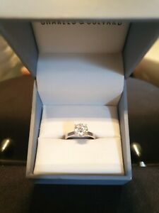 2 carat 8mm solitaire moissanite ring Charles and colvard  14kt white gold