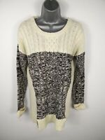 WOMENS ROMEO & JULIET CREAM/GREY CABLE KNIT LONG SLEEVED CREW NECK JUMPER MEDIUM