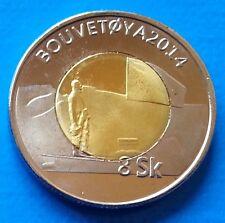 Bouvet Island 8 Skilling 2014 UNC Bi-metallic bimetal Bouvetøya unusual coinage