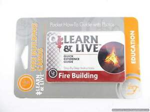 Live and Learn Fire Building Uses Reference Cards Survival Tips,Camping survival