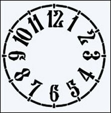 SIMPLE CLOCK FACE DURABLE MYLAR RE USEABLE STENCIL - 6 x 6 - IMAGE SIZE 13.6cm