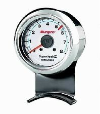 Sunpro 2 5/8 Inch Super Tachometer White / Chrome Bezel CP7911 Authorized Dist