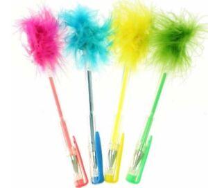 4 x Fluffy Gel Pens Green Yellow Blue Orange & Pink Party Bag Filler School Girl