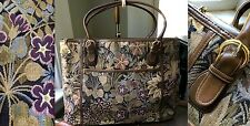 VTG MORRIS MOSKOWITZ USA LEATHER TAPESTRY NEEDLEPOINT FLORAL LG TOTE BAG PURSE