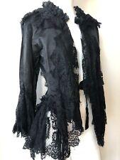 Dolce & Gabbana Gothic Halloween Jacket Cardigan Black Lace Silk Raffles Size M