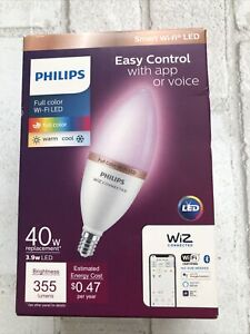 Philips Smart Wi-Fi 40W LED Tunable Candle Bulb, Full Color Dimmable, Open Box