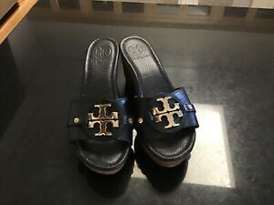 TORY BURCH BLACK WEDGED HEEL SANDALS  WOMEN'S SIZE 7 M