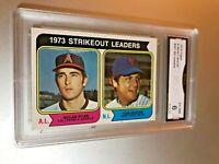 1974 Topps MLB STRIKEOUT LEADERS RYAN SEAVER #207 GMA Graded 6 EX-NM