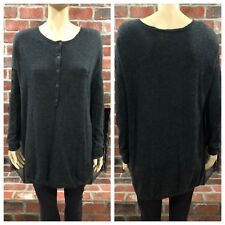 Vince 100% Cashmere Sweater Tunic Henley Pocket Gray Women's Size Large