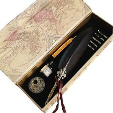 Antique Feather Writting Quill Pen Gold Pen Stem Real Feather Calligraphy Pen...