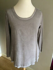 NWT RABE FASHION BEIGE OVER-DYED JERSEY TOP WITH BACK ZIP SIZE 16 RRP £69