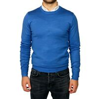 Maglia Maglione Uomo blu cobalto Manica Lunga Maglioncino Girocollo Casual Pullo