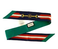 Gucci Baiadera Horsebit stripe Silk Twilly Reversible Skinny Scarf Neck Bow