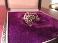 Schöner 925 Silber Ring Herz Liebe Markasiten Jugendstil Art Deco Retro Design