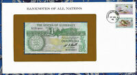 *Banknotes of All Nations State of Guernsey 1 pound 1980 P-48a UNC Prefix B*