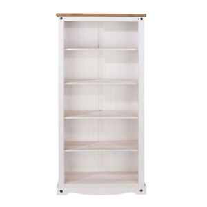 Corona White 5 Shelf Bookcase Tall Solid Wood Washed Pine Top Storage Display