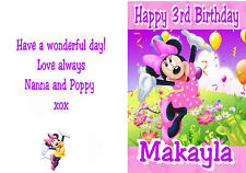 Personalised Birthday Card with Minnie Mouse Print -  Any name and Age