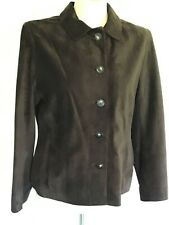 PHASE EIGHT beautifully soft dark brown genuine soft SUEDE LEATHER jacket UK 14