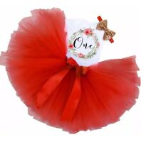 Wreath Baby Girl 1st Birthday Party Outfit Dress Tutu One Cake Smash AU Stock