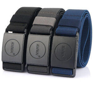 "3 PACK 1.5"" Mens Quick Release Tactical Belt with Magnetic Buckle Stretch Belts"