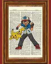 Pokemon Ash Pikachu Dictionary Art Print Book Picture Poster Anime Manga