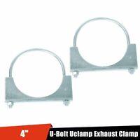 "2PC 4"" Inch Exhaust Muffler U Bolt Clamp Saddle Style Mild Steel"