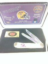CASE XX # LSU19-CATY. LSU  NATIONAL CHAMPIONS  YELLOW HANDLE KNIFE