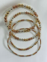 14K Tri Colored • Silver • Gold • Rose Gold Bead Stretch Bracelet • 2mm to 6mm