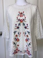 Altar'd State Small Cream Floral Lace Up 3/4 Sleeve Boho Top Blouse Embroidered