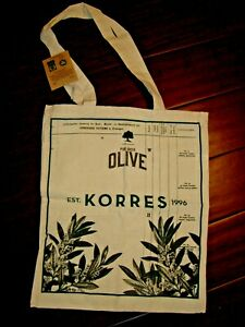 KORRES HERBAL REUSABLE LINEN TOTE SHOPPING BAG PURE GREEK OLIVE NEW W/ TAGS