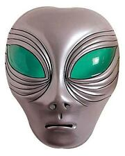 Silver Plastic Alien Face Mask With Green Eyes Et Halloween Martian Fancy Dress