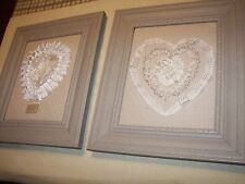 VALENTINE SHABBY CHIC HOME DECOR -  ELEGANT  LACE HEART WALL PLAQUES