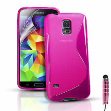 Silicone Gel Case Cover For Samsung Galaxy S5 i9600 SM-G900F & Screen Protector