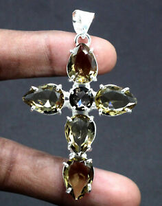 "925 Sterling Silver Smoky Quartz Gemstone Handmade Jewelry Cross Pendant S-2"""