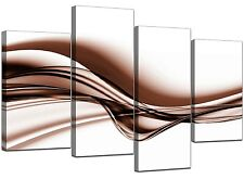 Large Modern Brown Canvas Wall Art Pictures 130cm Wide Prints Set 4034