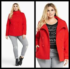 NWT Torrid Women's Plus 2 2X XL Red Double Breasted Peacoat Lined (#17)