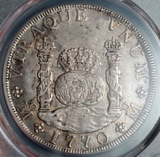 1770, Mexico, Charles III. Large Silver 8 Reales Coin. Pillar Dollar! PCGS AU53!