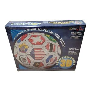 NEW 32 NATIONS FLAGS SOCCER BALL WHITE MOUNTAIN PUZZLES SURE-LOX 3D RARE 212 PC