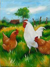 Tableau original de Caillon 40x30 cm poule coq ferme paix toile huile peinture
