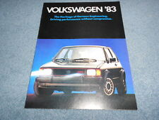 1983 VW VOLKSWAGEN FULL-LINE DEALER COLOR SALES BROCHURE ORIGINAL GTI PICKUP OEM