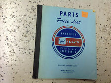 1963 JEEP WILLY'S WILLYS Parts Price List Manual Factory Dealership OEM RARE BK