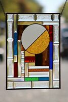 """Keep Rolling -Beveled Stained Glass Window Panel- Hanging ≈20 1/2"""" x 15 1/2"""""""