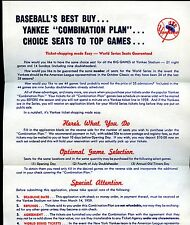 1959 New York Yankees Baseball Combination Ticket Plan Order Form