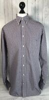 Gant Mens Genuine Purple White Gingham Long Sleeve Shirt Regular Fit Size Large