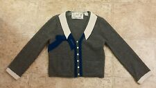 ANTHROPOLOGIE FIELD FLOWER FELTED COLLAR CARDIGAN SWEATER GRAY LARGE