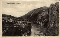 Bad Münster am Stein alte Ansichtskarte 1928 Teilansicht mit Nahe und Rotenfels