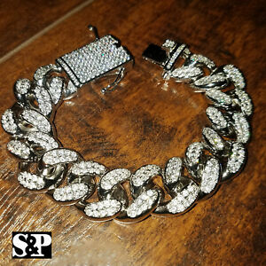 "Hip Hop Iced 19mm 8.5"" Heavy White Gold PT Brass Lab Diamond Cuban Bracelet"