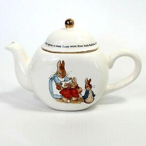 Beatrix Potter PETER RABBIT White Ceramic Bunny Teapot 1997 Teleflora Easter