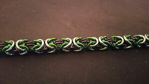 Variagated Green Anodized Aluminum Byzantine Chain mail Bracelet