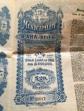 Scripophilie Numismate Emprunt Or 1912 Municipalité de Para Brésil